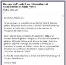 Jean-Luc Hees remercie le Directeur général