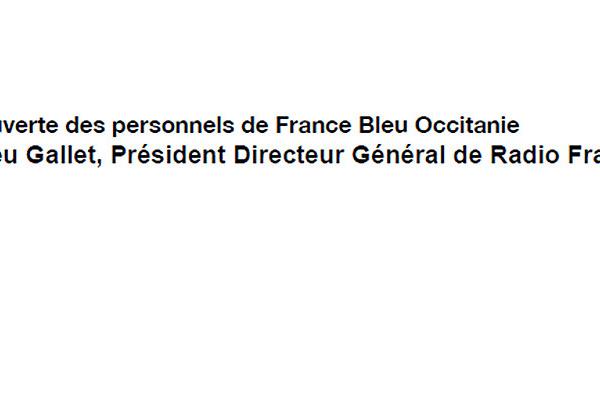 Lettre ouverte des personnels de France Bleu Occitanie