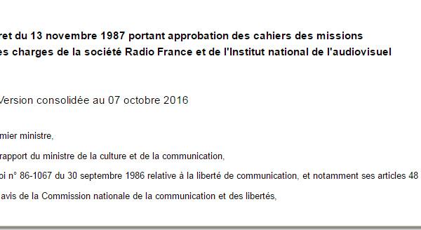 Avez-vous lu le cahier des missions et des charges de Radio France ?